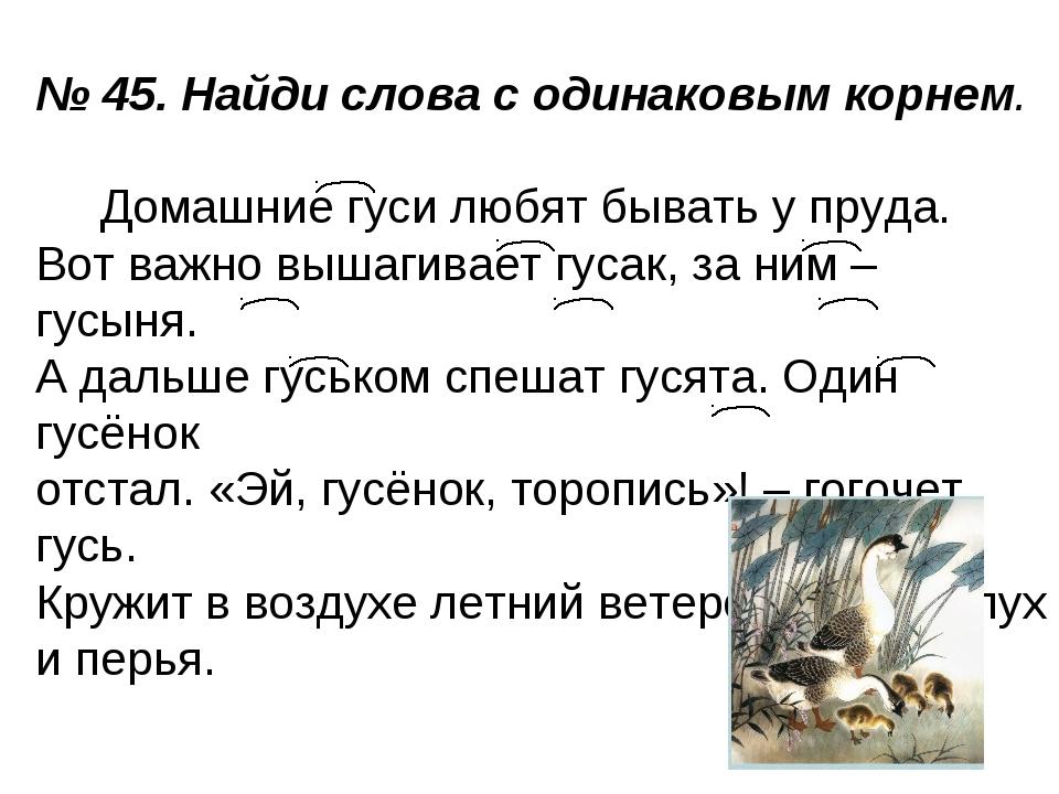 № 45. Найди слова с одинаковым корнем. Домашние гуси любят бывать у пруда. Во...