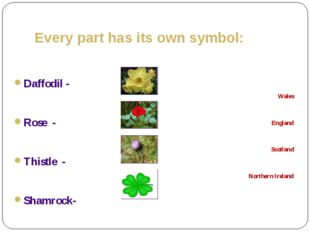 Every part has its own symbol: Daffodil - Rose - Thistle - Shamrock- Wales En