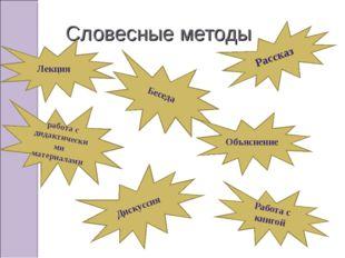 Словесные методы Лекция работа с дидактическими материалами Беседа Объяснение