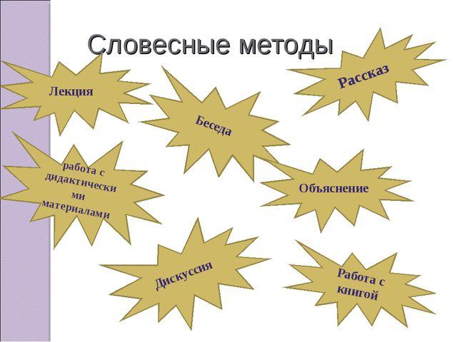Словесные методы Лекция работа с дидактическими материалами Беседа Объяснение...