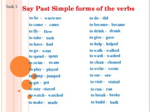 Say Past Simple forms of the verbs to be – was/were to come - came to fly - f