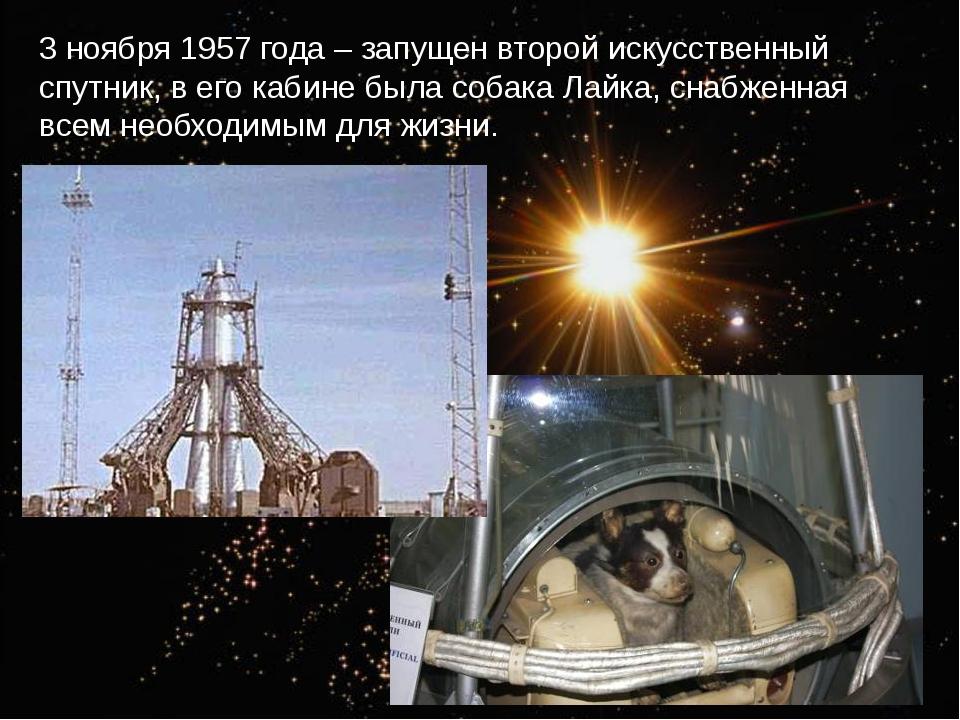 3 ноября 1957 года – запущен второй искусственный спутник, в его кабине была...