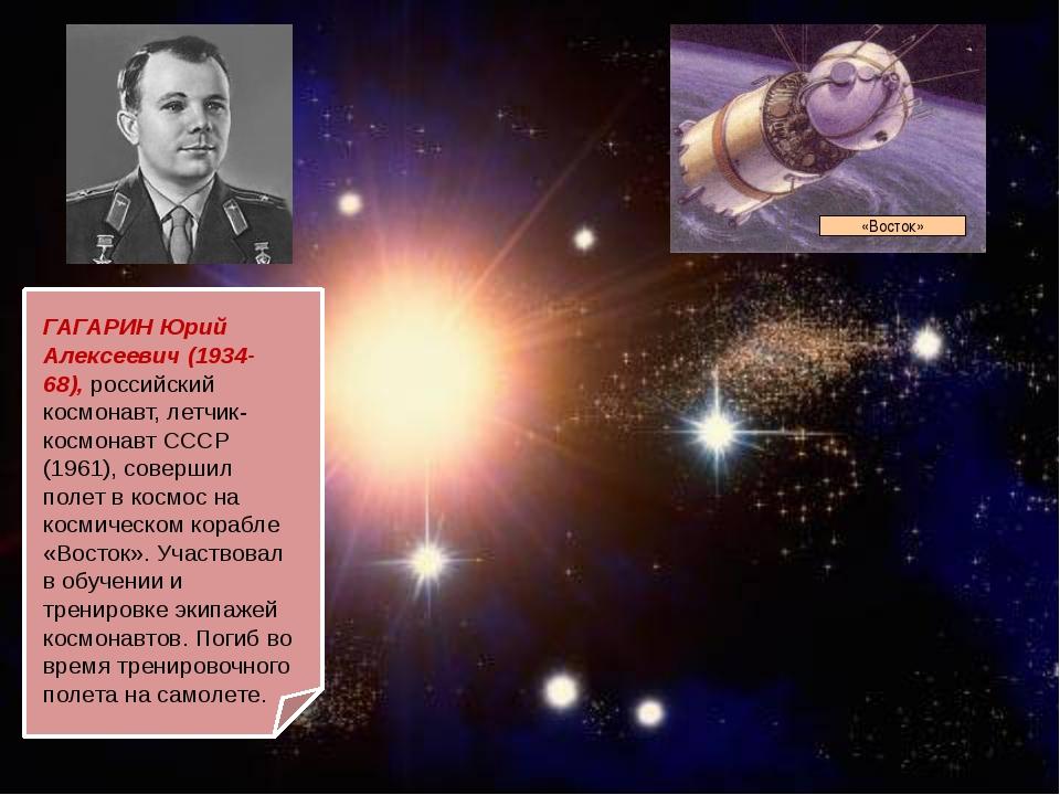 ГАГАРИН Юрий Алексеевич (1934-68), российский космонавт, летчик-космонавт СС...