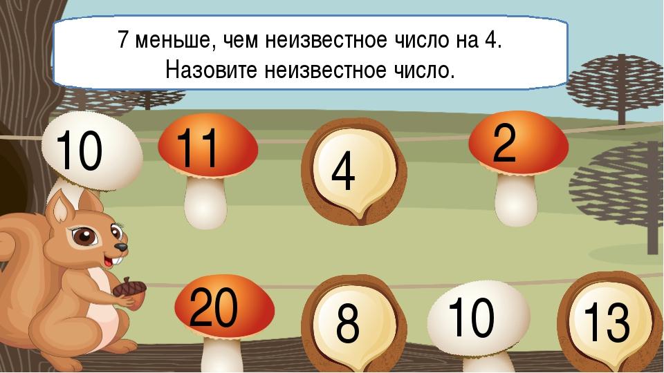 7 меньше, чем неизвестное число на 4. Назовите неизвестное число. 10 11 4 2 2...