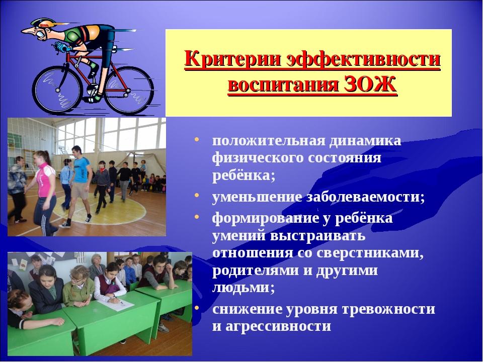 Критерии эффективности воспитания ЗОЖ положительная динамика физического сост...