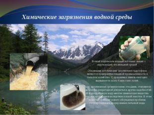 Химические загрязнения водной среды Всякий водоем или водный источник связан