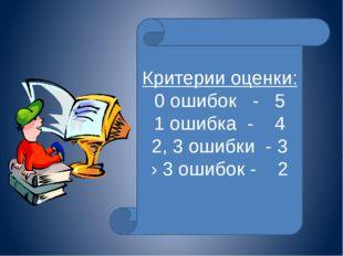 Критерии оценки: 0 ошибок - 5 1 ошибка - 4 2, 3 ошибки - 3 › 3 ошибок - 2