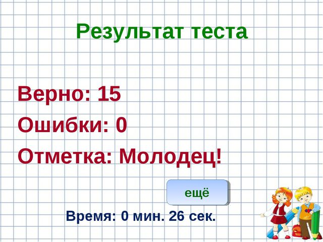 Результат теста Верно: 15 Ошибки: 0 Отметка: Молодец! Время: 0 мин. 26 сек. е...