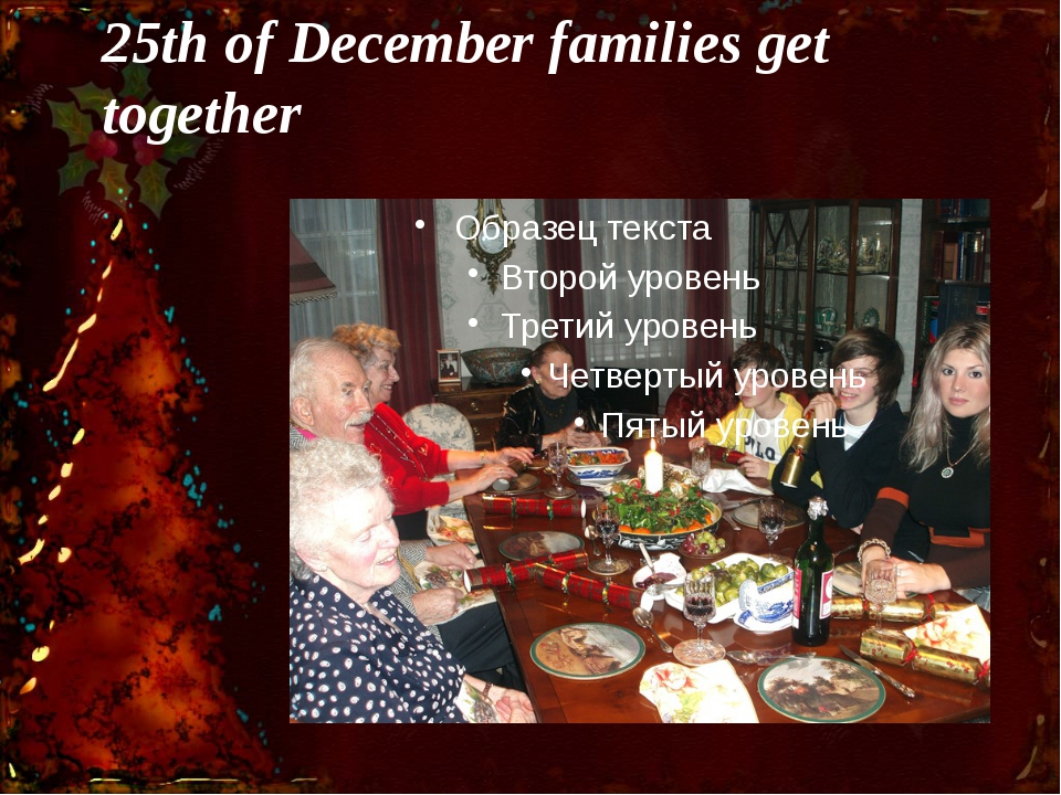 25th of December families get together