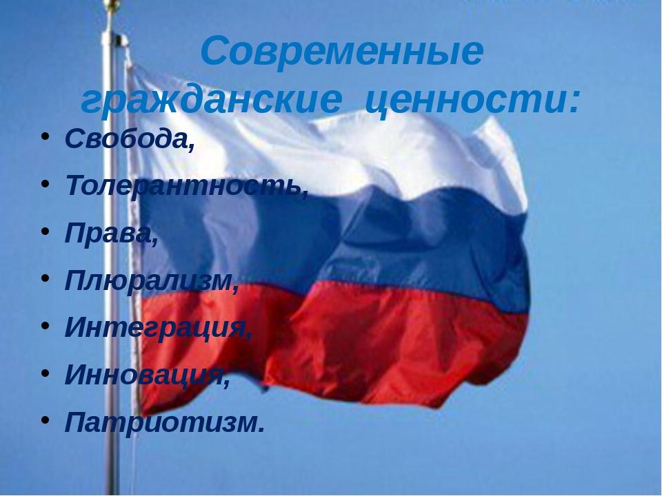 Свобода, Толерантность, Права, Плюрализм, Интеграция, Инновация, Патриотизм....