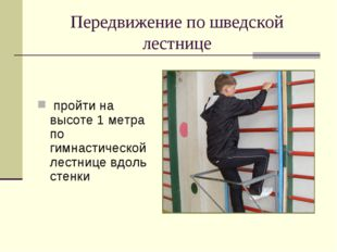 Передвижение по шведской лестнице пройти на высоте 1 метра по гимнастической