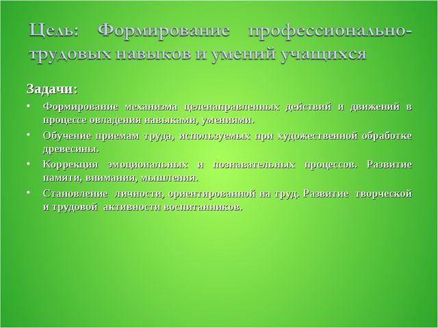 Задачи: Формирование механизма целенаправленных действий и движений в процесс...