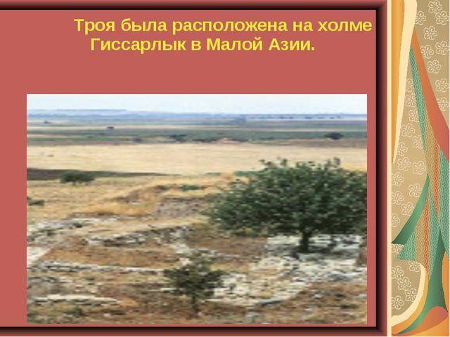 Троя была расположена на холме Гиссарлык в Малой Азии.