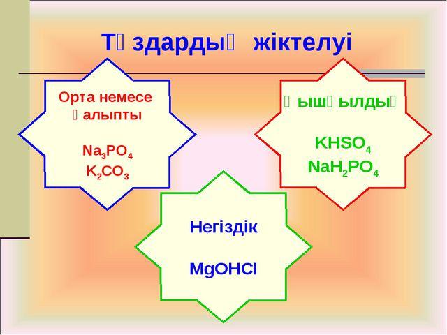 Тұздардың жіктелуі Орта немесе қалыпты Na3PO4 K2CO3 Қышқылдық KHSO4 NaH2PO4...