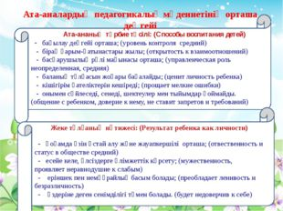 Ата-ананың тәрбие тәсілі: (Способы воспитания детей) - бақылау деңгейі орташ