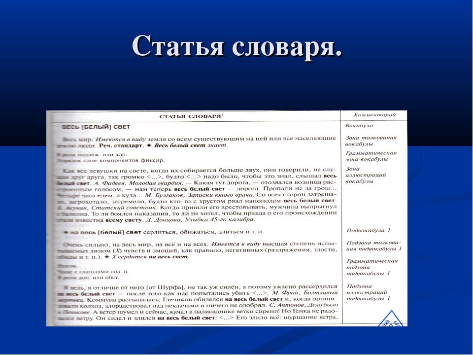 Статья словаря.