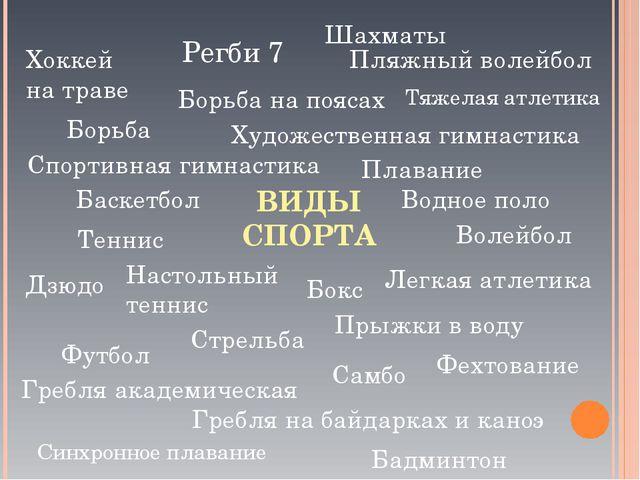 ВИДЫ СПОРТА Баскетбол Водное поло Волейбол Дзюдо Легкая атлетика Настольный т...