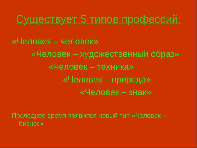 Существует 5 типов профессий: «Человек – человек» «Человек – художественный о...