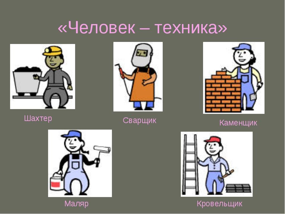 «Человек – техника» Шахтер Сварщик Каменщик Маляр Кровельщик