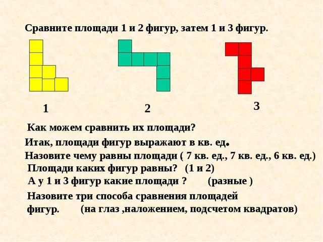 Сравните площади 1 и 2 фигур, затем 1 и 3 фигур. 1 2 3 Как можем сравнить их...