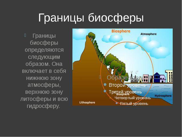 Границы биосферы Границы биосферы определяются следующим образом. Она включае...