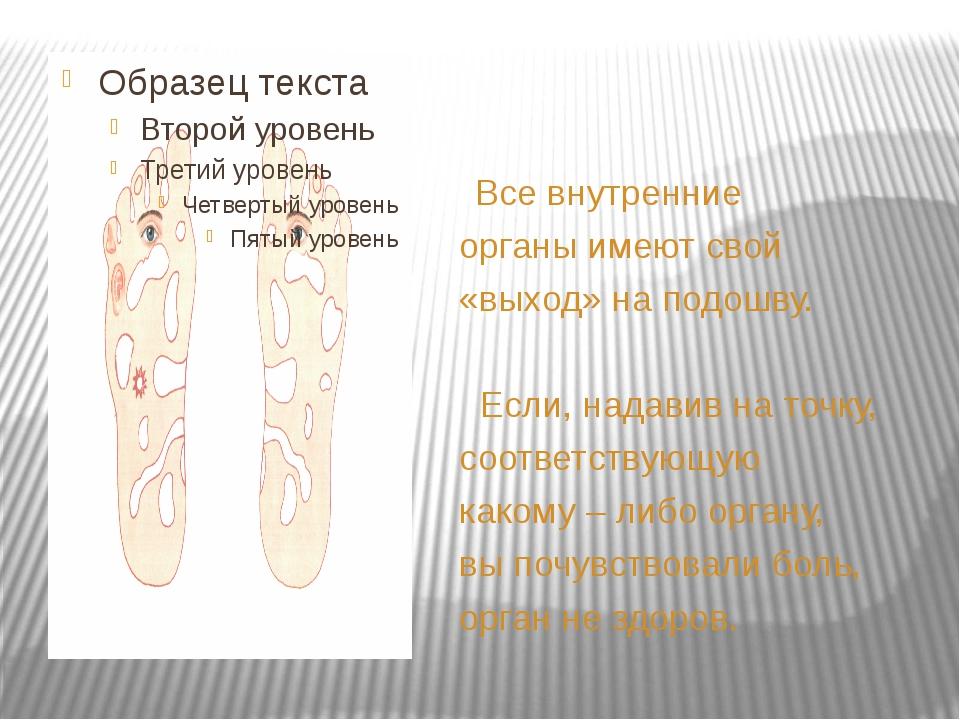 Все внутренние органы имеют свой «выход» на подошву. Если, надавив на точку,...
