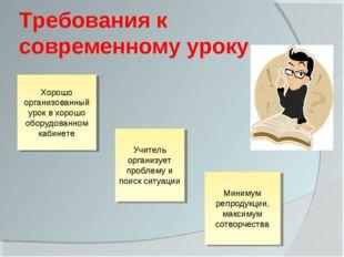Требования к современному уроку Хорошо организованный урок в хорошо оборудова