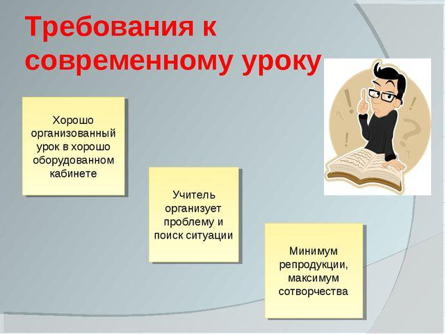 Требования к современному уроку Хорошо организованный урок в хорошо оборудова...