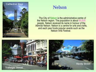 The City of Nelson is the administrative centre of the Nelson region. The po