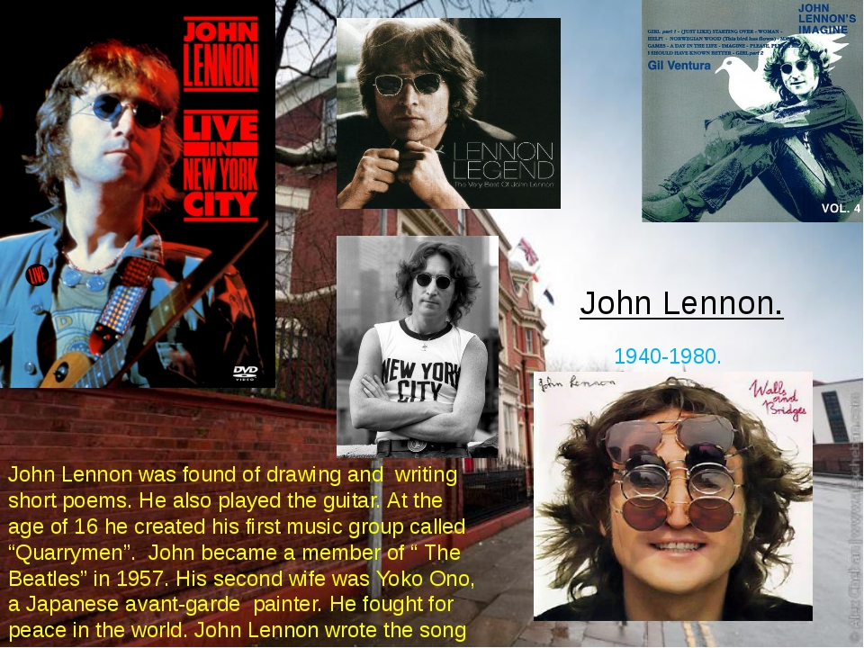 John Lennon. 1940-1980. John Lennon was found of drawing and writing short po...