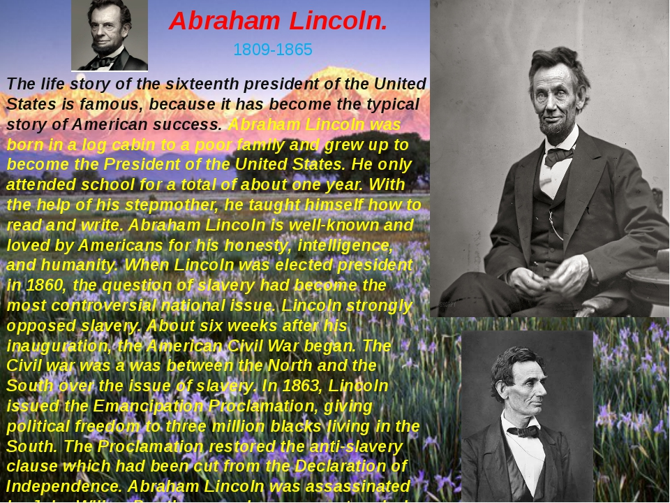 Abraham Lincoln. 1809-1865 The life story of the sixteenth president of the U...