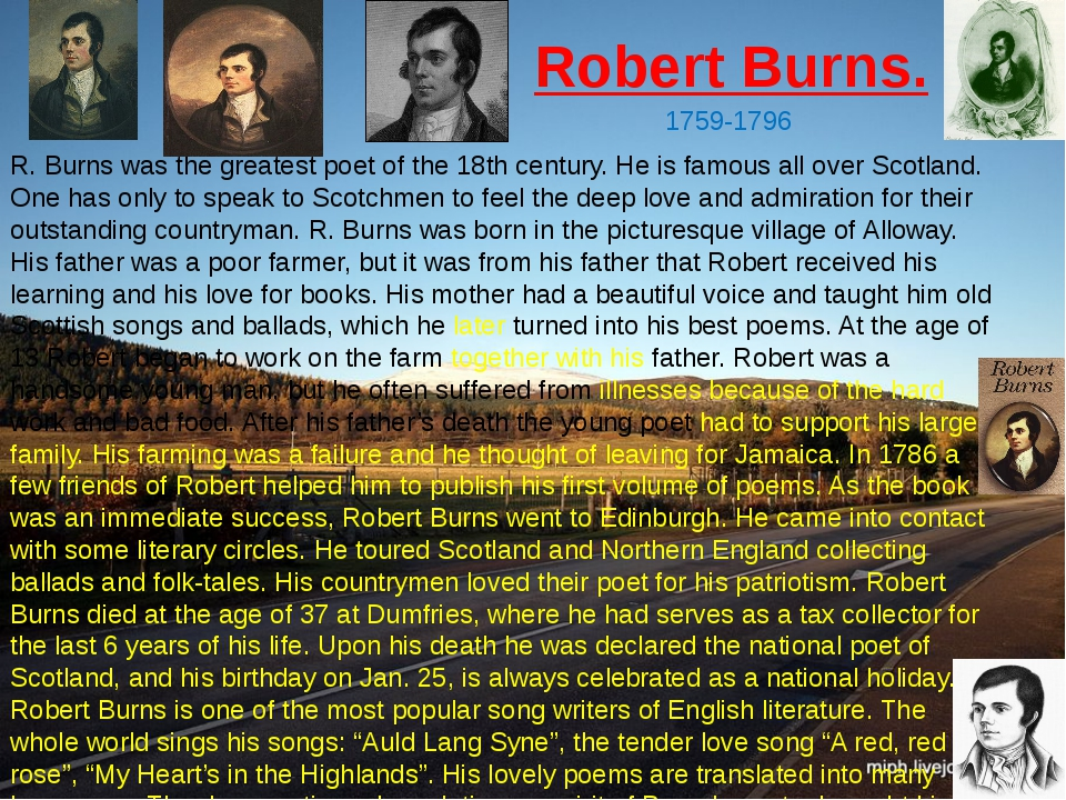 Robert Burns. 1759-1796 R. Burns was the greatest poet of the 18th century. H...