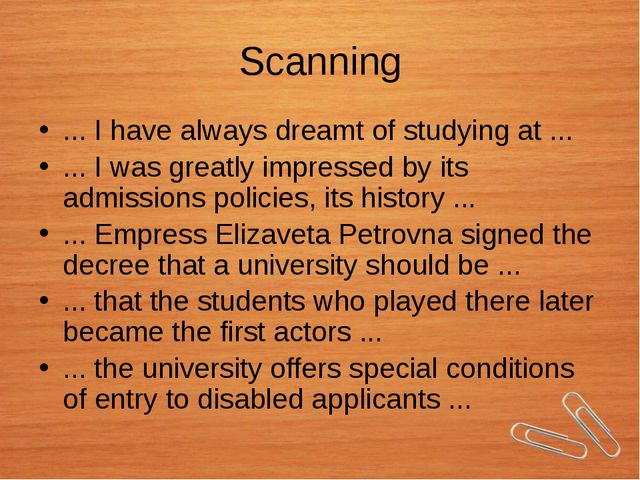 Scanning ... I have always dreamt of studying at ... ... I was greatly impres...