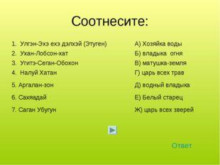 Соотнесите: Ответ 1. Улгэн-Эхэ ехэ дэлхэй (Этуген)А) Хозяйка воды 2. Ухан-Ло