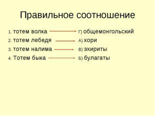Правильное соотношение 1. тотем волкаГ) общемонгольский 2. тотем лебедяА) х