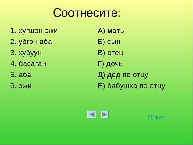 Соотнесите: Ответ 1. хугшэн эжиА) мать 2. убгэн абаБ) сын 3. хубуунВ) отец...