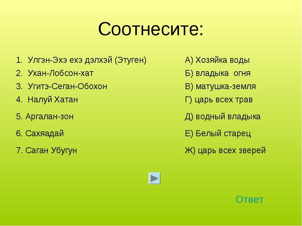 Соотнесите: Ответ 1. Улгэн-Эхэ ехэ дэлхэй (Этуген)А) Хозяйка воды 2. Ухан-Ло...