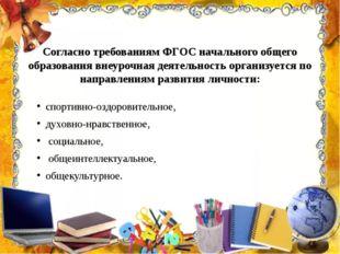Согласно требованиям ФГОС начального общего образования внеурочная деятельнос