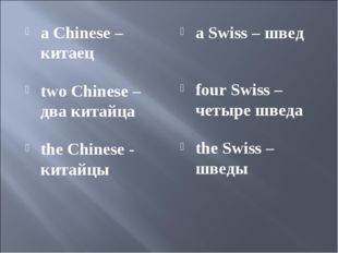 a Chinese – китаец two Chinese – два китайца the Chinese - китайцы a Swiss –