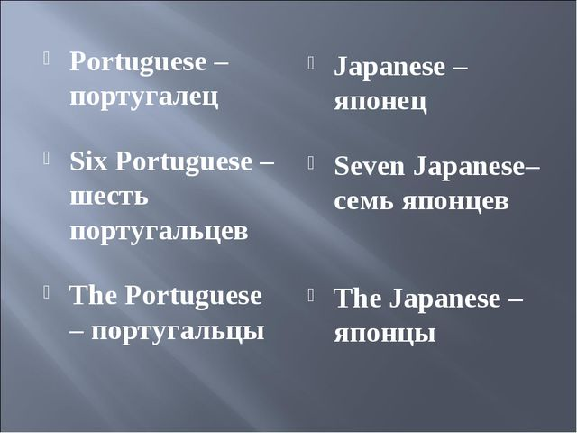 Portuguese – португалец Six Portuguese – шесть португальцев The Portuguese –...