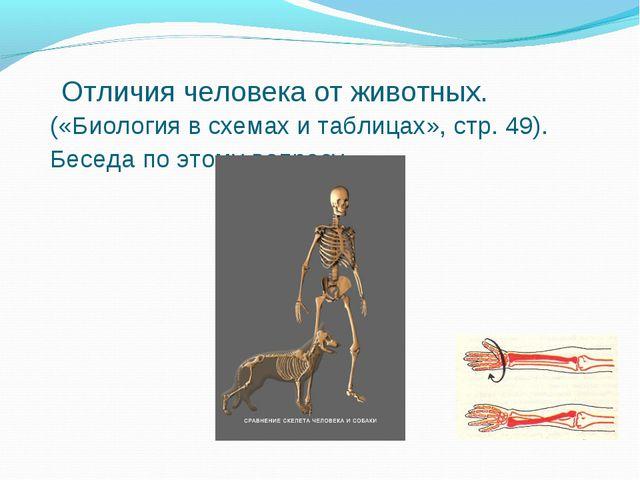 Отличия человека от животных. («Биология в схемах и таблицах», стр. 49). Бес...