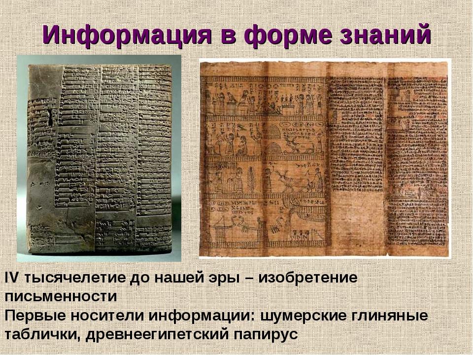 Информация в форме знаний IV тысячелетие до нашей эры – изобретение письменно...