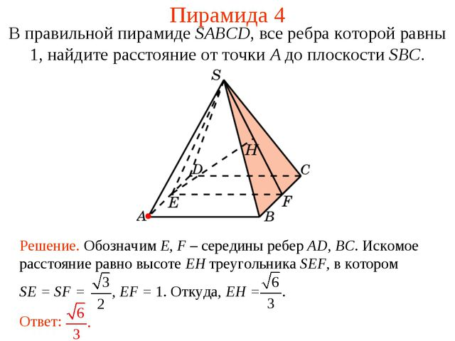 Пирамида 4 В правильной пирамиде SABCD, все ребра которой равны 1, найдите ра...
