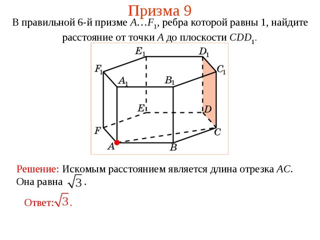 Призма 9 В правильной 6-й призме A…F1, ребра которой равны 1, найдите расстоя...