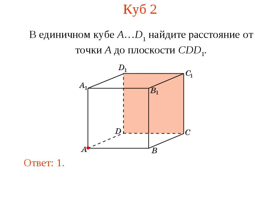 Куб 2 В единичном кубе A…D1 найдите расстояние от точки A до плоскости CDD1....