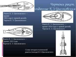 Чертежи ракет, созданные К.Э.Циолковским Ракета К. Э. Циолковского— проект 1