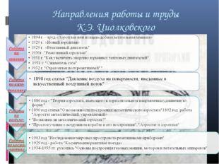 Направления работы и труды К.Э. Циолковского