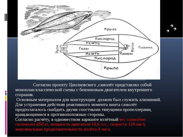 Согласно проекту Циолковского ,самолёт представлял собой моноплан классическ...