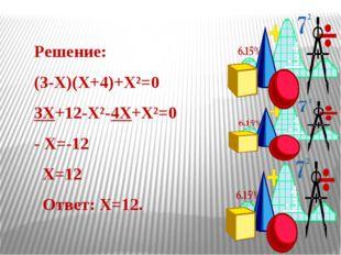 Решение: (3-Χ)(Χ+4)+Χ²=0 3Χ+12-Χ²-4Χ+Χ²=0 - Χ=-12 Χ=12 Ответ: Χ=12.