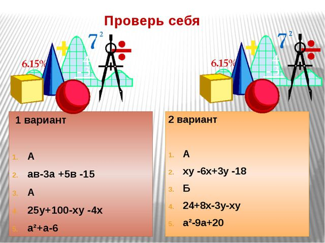 Проверь себя 1 вариант А ав-3а +5в -15 А 25у+100-ху -4х а²+а-6 2 вариант А ху...